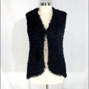 NY Collection Soft Fuzzy Black Vest!